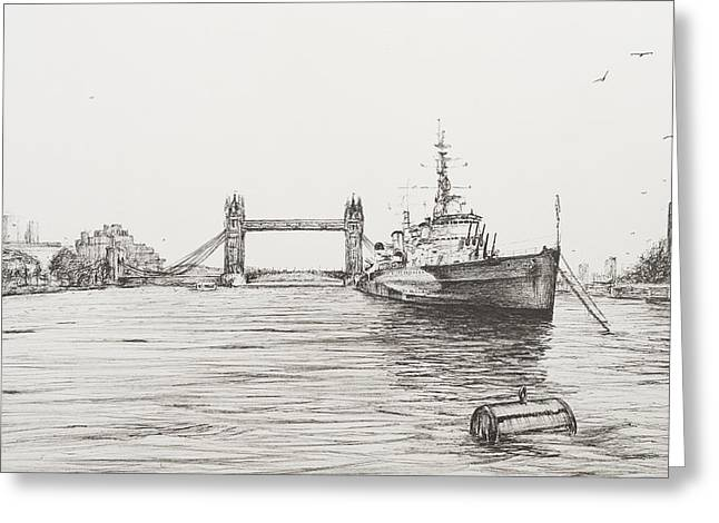Ocean Shore Drawings Greeting Cards - HMS Belfast on the river Thames Greeting Card by Vincent Alexander Booth