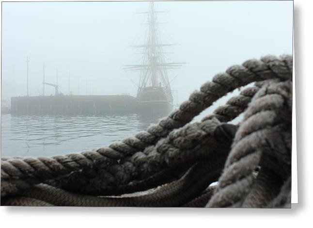 HMS Bounty In The Eastport Fog Greeting Card by Rick  Blood