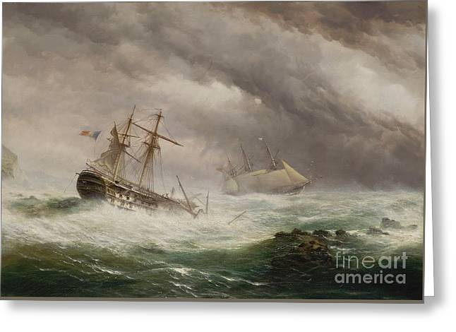 Hms Endymion Rescuing A French Greeting Card by Ebenezer Colls