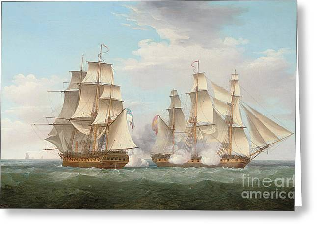 Hms Ethalion In Action With The Spanish Frigate Thetis Off Cape Finisterre Greeting Card by Thomas Whitcombe