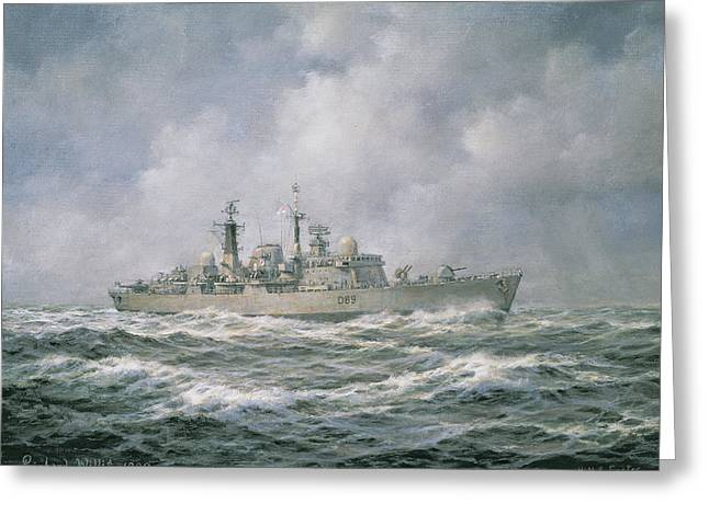 Adventure Of The Seas Greeting Cards - HMS Exeter Greeting Card by Richard Willis