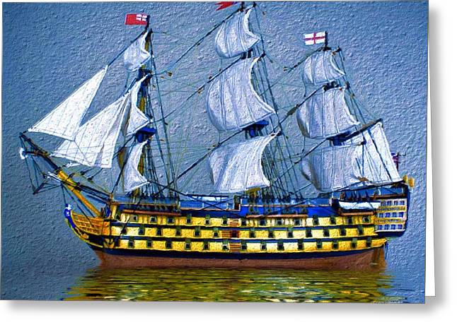 First-rate Greeting Cards - HMS Victory Tall Ship 2 Greeting Card by Scott Wallace