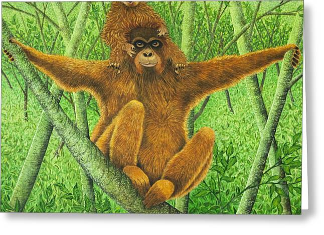 Orangutans Greeting Cards - Hnag On In There Greeting Card by Pat Scott