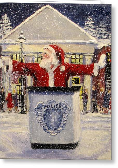 Police Christmas Card Greeting Cards - Ho Ho Go... Greeting Card by Jack Skinner