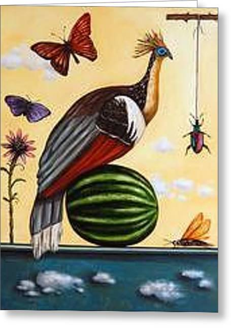 Watermelon Greeting Cards - Hoatzin Greeting Card by Leah Saulnier The Painting Maniac