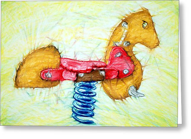 Child Toy Pastels Greeting Cards - Hobby Horse 1 Greeting Card by John Terwilliger