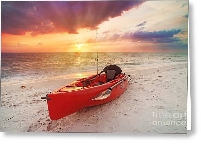 Canoe Photographs Greeting Cards - Hobie Greeting Card by Alicia Mick