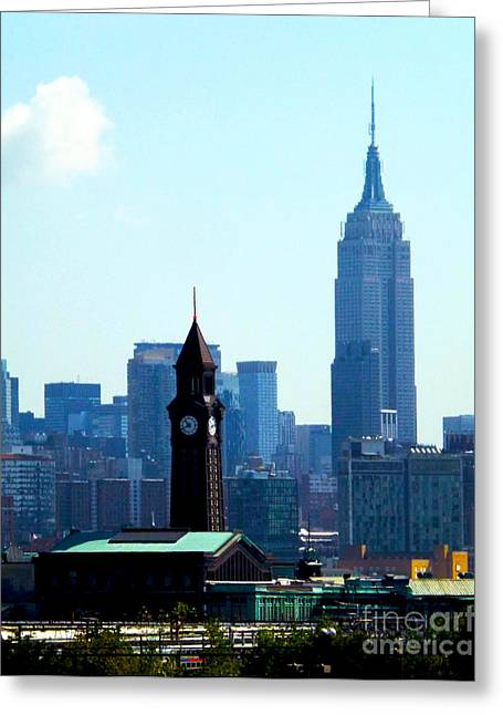 Railyard Greeting Cards - Hoboken and New York Greeting Card by James Aiken