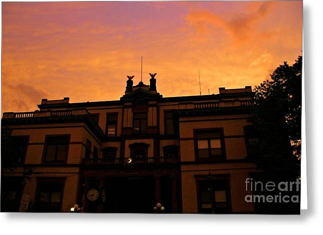 Light And Dark Greeting Cards - Hoboken City Hall Sunset Greeting Card by Marina McLain