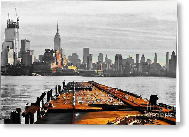 Hoboken Pier Greeting Card by Stacey Brooks