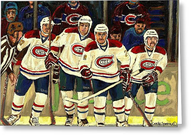 Goalie Paintings Greeting Cards - Hockey Art The Habs Fab Four Greeting Card by Carole Spandau