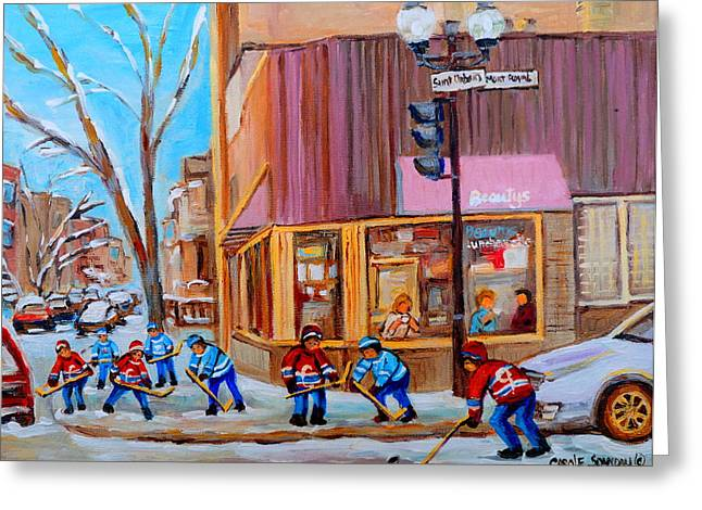 Montreal Bistros Greeting Cards - Hockey At Beautys Deli Greeting Card by Carole Spandau