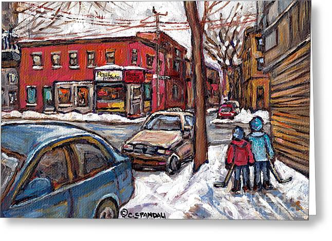 Hockey Paintings Greeting Cards - Hockey Buddies In The Pointe Connies Pizza Corner Paul Patates Montreal Winter Scenes Painting  Greeting Card by Carole Spandau