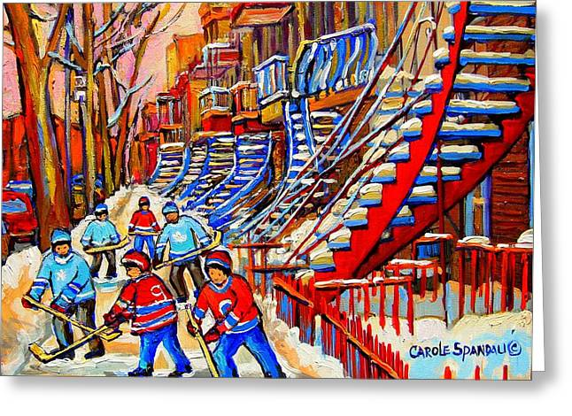 Montreal Winter Scenes Paintings Greeting Cards - Hockey Game Near The Red Staircase Greeting Card by Carole Spandau
