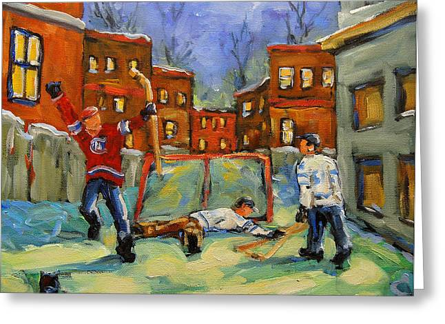 Goalie Paintings Greeting Cards - Hockey Kids He Scores Greeting Card by Richard T Pranke