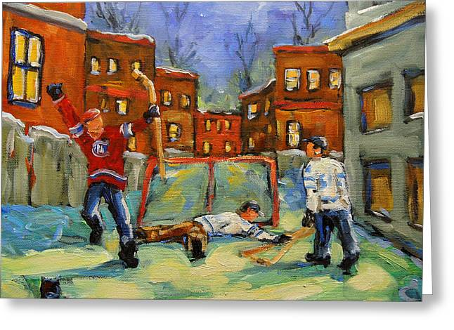 Kids Sports Paintings Greeting Cards - Hockey Kids He Scores Greeting Card by Richard T Pranke