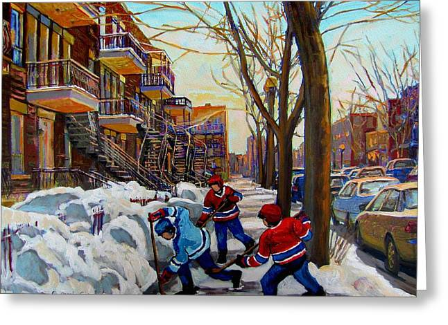 Montreal Winter Scenes Paintings Greeting Cards - Hockey On De Bullion  Greeting Card by Carole Spandau