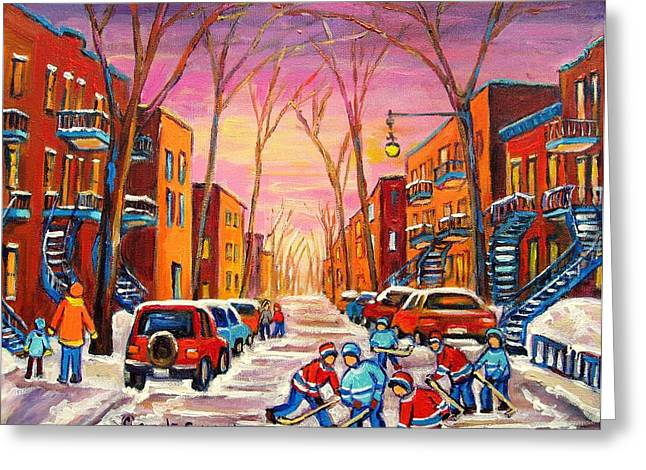 Montreal Winter Scenes Paintings Greeting Cards - Hockey On Hotel De Ville Street Greeting Card by Carole Spandau