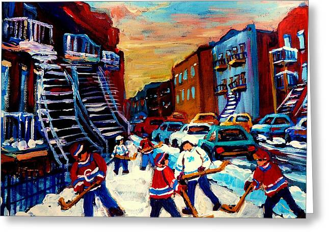 The Plateaus Greeting Cards - Hockey Paintings Of Montreal St Urbain Street City Scenes Greeting Card by Carole Spandau
