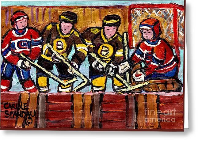 Hockey Rink Paintings Boston Bruins Vs Canadiens Original Six Teams Quebec Hockey Art Carole Spandau Greeting Card by Carole Spandau