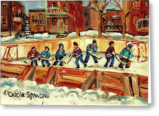 Winter Fun Paintings Greeting Cards - Hockey Rinks In Montreal Greeting Card by Carole Spandau