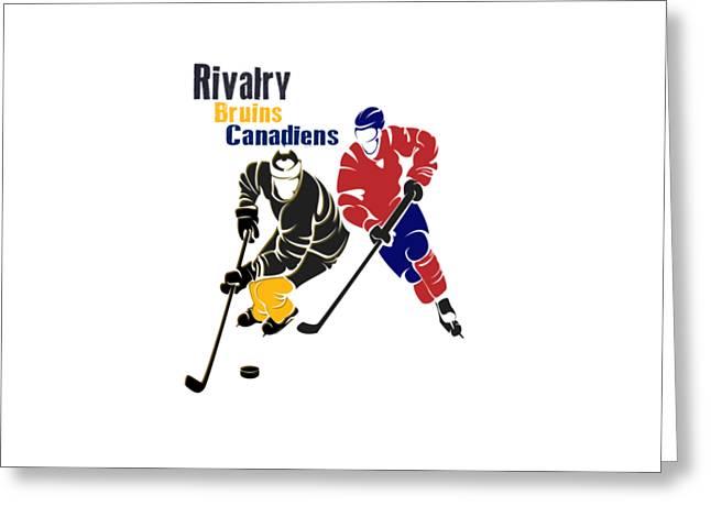 Hockey Rivalry Bruins Canadiens Shirt Greeting Card by Joe Hamilton