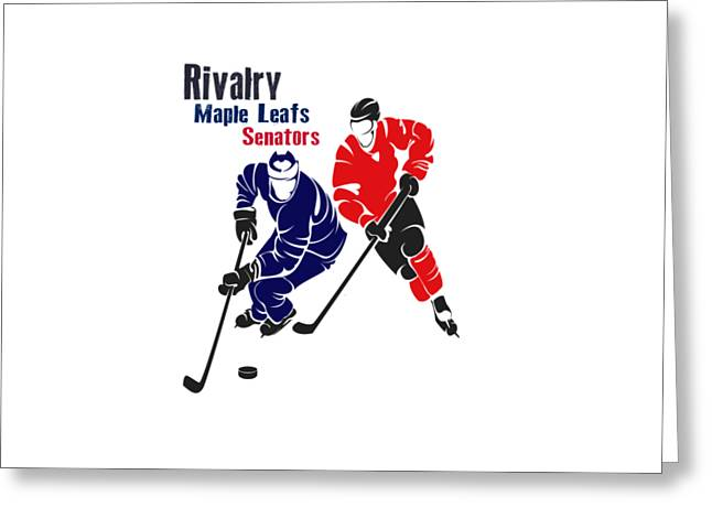 Ice-skating Greeting Cards - Hockey Rivalry Maple Leafs Senators Shirt Greeting Card by Joe Hamilton
