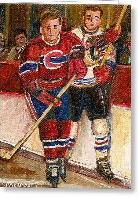 Hockey Paintings Greeting Cards - Hockey Stars At The Forum Greeting Card by Carole Spandau