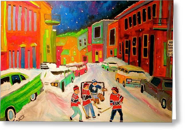 Hockey Paintings Greeting Cards - Hockey Street Greeting Card by Michael Litvack