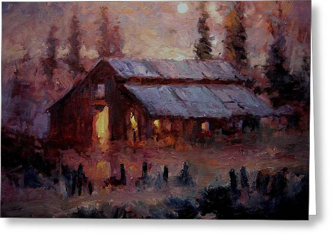 Torchlight Greeting Cards - Hoedown at Mr. Roberts barn Greeting Card by R W Goetting