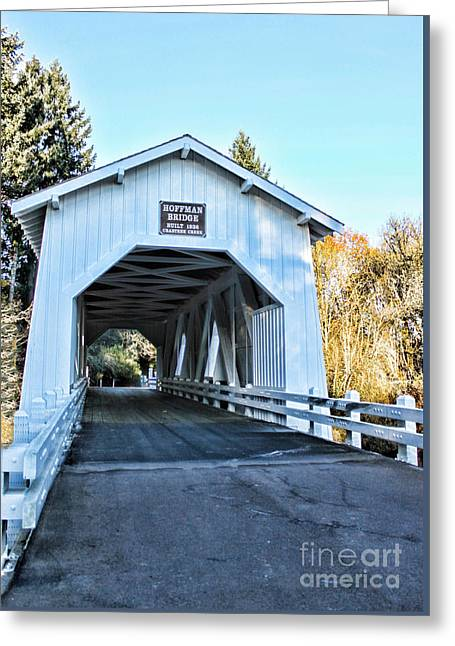 Covered Bridge Greeting Cards - Hoffman Covered Bridge Greeting Card by Erica Hanel