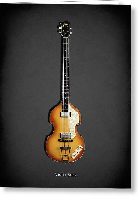 Hofner Greeting Cards - Hofner Violin Bass 62 Greeting Card by Mark Rogan