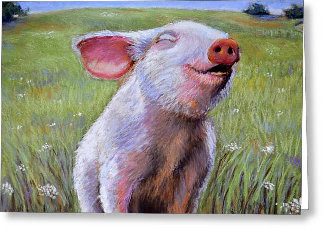 Farm Animals Pastels Greeting Cards - Hog Heaven Greeting Card by Susan Jenkins