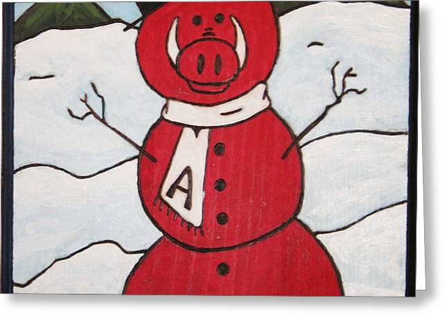 Hog Snowman Greeting Card by Amy Parker