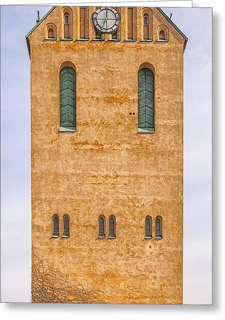 Large Clock Greeting Cards - Hoganas Church Greeting Card by Antony McAulay