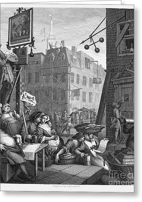 18th Century Greeting Cards - Hogarth: Beer Street Greeting Card by Granger