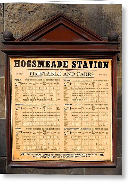Hogsmeade Station Timetable Greeting Card by Juergen Weiss