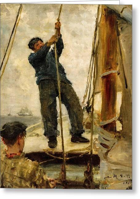 Schooner Greeting Cards - Hoisting the Mainsail  Greeting Card by Henry Scott Tuke