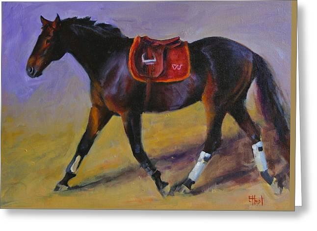 Virginia Tech Greeting Cards - Hokie Horse Greeting Card by Elaine Hurst