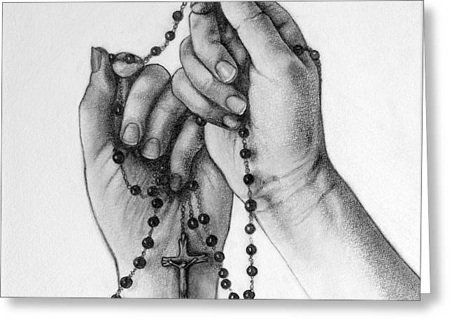Rosary Drawings Greeting Cards - Holding A Cross Greeting Card by Gabriela Junosova