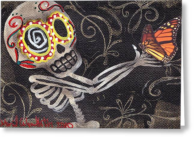 Sugar Skull Greeting Cards - Holding Life Greeting Card by  Abril Andrade Griffith