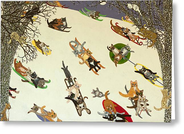 Sledge Greeting Cards - Holding On Greeting Card by Pat Scott