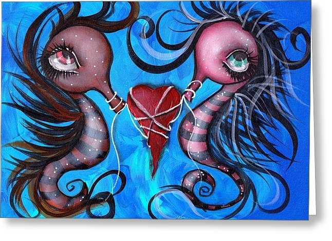 Sea Animals Paintings Greeting Cards - Holding our Love Greeting Card by  Abril Andrade Griffith