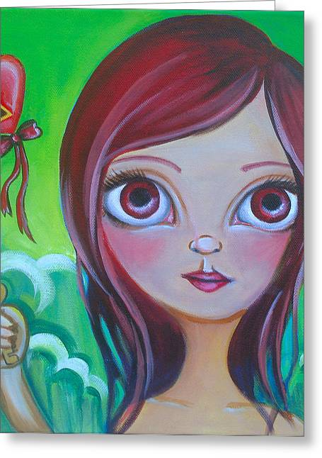 Faery ists Paintings Greeting Cards - Holding the Key Greeting Card by Jaz Higgins