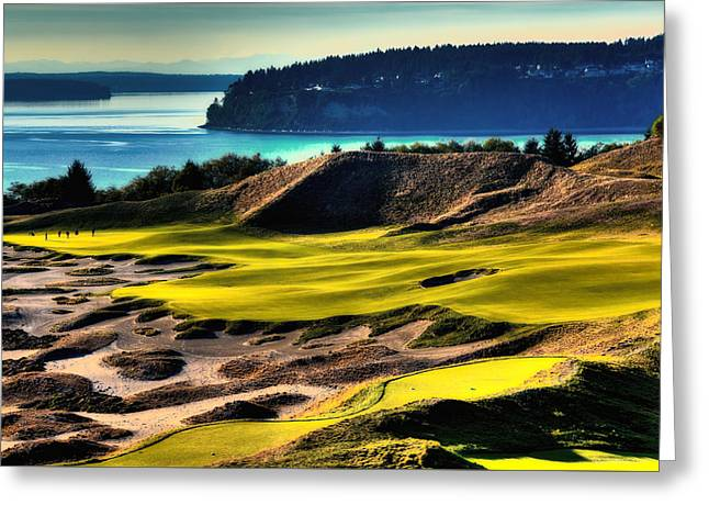 Us Open Golf Greeting Cards - Hole #14 at Chambers Bay Greeting Card by David Patterson