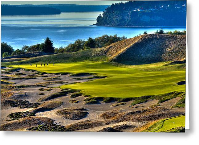 Hole #14 - Cape Fear - At Chambers Bay Greeting Card by David Patterson