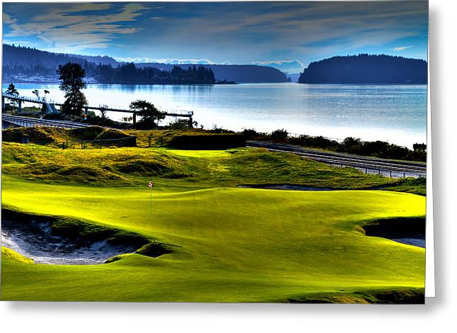 Hole #17 At Chambers Bay Greeting Card by David Patterson