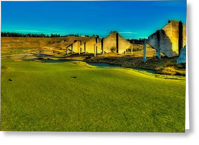 Us Open Greeting Cards - Hole #18 at Chambers Bay Greeting Card by David Patterson