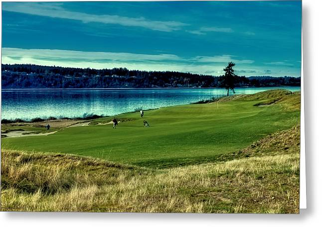 Us Open Photographs Greeting Cards - Hole #2 at Chambers Bay Greeting Card by David Patterson