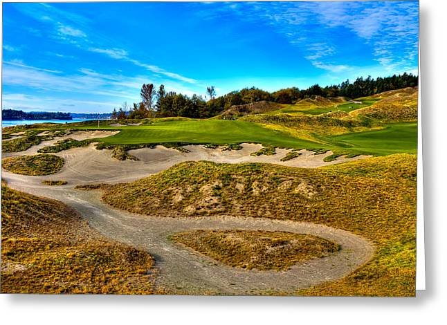 Us Open Greeting Cards - Hole #3 at Chambers Bay Greeting Card by David Patterson